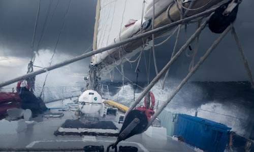 British Columbia, Canada, BC Coast, sailing in gale force storm,