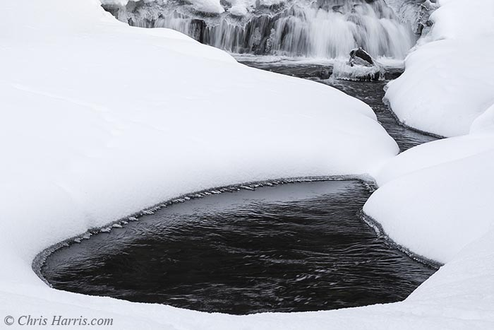 winter stream, waterfall,